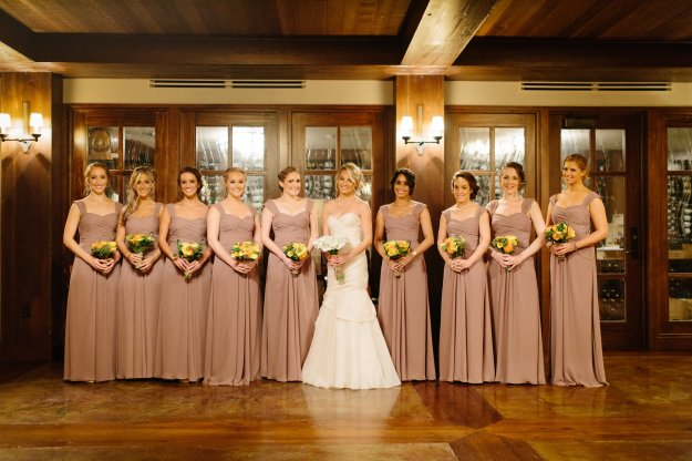 My gorgeous bridesmaids. Dresses by Monique Lhuillier. Photo by Clay Austin Photography